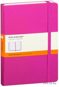 """Записная книжка Молескин """"Classic"""" в линейку (большая; твердая розовая обложка)"""