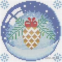 """Алмазная вышивка-мозаика """"Новогодний шарик с шишкой"""""""