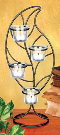 Набор подсвечников стеклянных, 4 шт (5*6 см) на металлической подставке (40 см) + 4 свечи (3,5 см)
