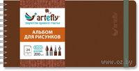 """Альбом для рисунков """"Artefly"""" (210х105 мм; твердая коричневая обложка)"""