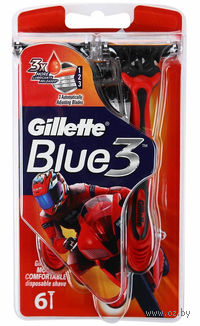 Станок для бритья одноразовый Gillette BLUE 3 Red (6 шт)