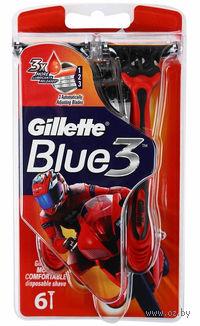 Станок для бритья одноразовый Gillette BLUE 3 Red (6 шт)