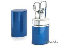 Набор для маникюра в алюминиевом тубусе, 4 предмета (синий)