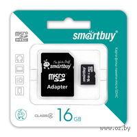Карта памяти micro SDHC 16Gb SmartBuy Class 4 (+ SD адаптер)