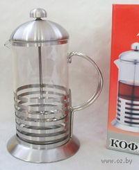 Кофейник с прессом, стекло/металл, 600 мл (арт. YM-009/600)