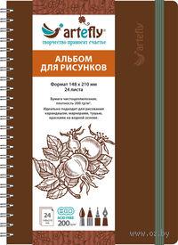 """Альбом для рисунков """"Artefly"""" (148x210 мм; твердая коричневая обложка)"""