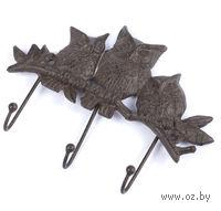 "Вешалка настенная металлическая ""Совы"" (3 крючка; 10х15 см; арт. 10718293)"