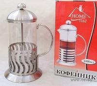 Кофейник с прессом, стекло/металл, 1000 мл (арт. YM-028/1000)
