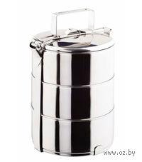 Набор емкостей для еды металлических круглых с общей ручкой (3 шт, 14*6, 5 см)