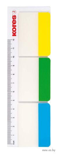 Закладки цветные на клейкой основе (3 цвета; 10 листов + линейка)