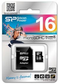 Карта памяти micro SDHC 16Gb Silicon Power Class 4 (с адаптером SD)