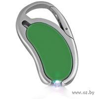 Авторучка с фонариком на карабине (зеленая)