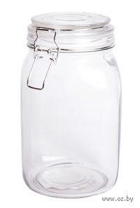 Банка для сыпучих продуктов стеклянная с клипсой (1550 мл; 11,5х20,3 см)