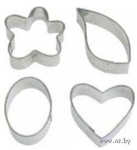"""Набор форм для вырезания теста металлических """"Цветок, лист, овал, сердце"""" (4 шт; арт. WLT-417-445)"""