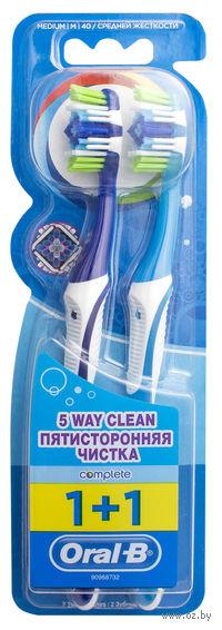 """Зубная щетка Oral-B комплекс """"Пятисторонняя чистка"""" (средняя, 1+1 шт)"""