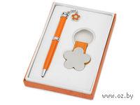 """Набор. Шариковая ручка. брелок """"Цветок"""" (оранжевый)"""