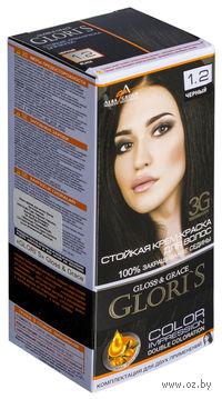Крем-краска для волос (тон: 1.2, черный, 2 шт)