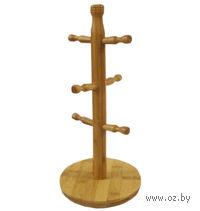 Вешалка для чашек бамбуковая на 6 чашек (16*35 см)