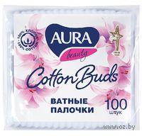 """Ватные палочки """"Aura"""" в пакете (100 штук)"""