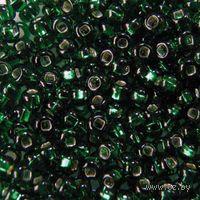 Бисер прозрачный с серебристым центром №57060 (темно-зеленый)