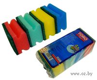 Набор губок для мытья посуды поролоновых TORO (4 шт, 9*6 см)