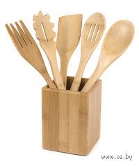 Набор кухонных инструментов бамбуковых на подставке (5 предметов; арт. BB101147)