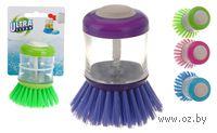 Щетка для мытья посуды пластмассовая с емкостью для моющего средства (9 см)