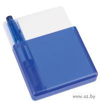 Подставка с бумажным блоком и ручкой с возможностью крепления на решетку обдува автомобиля (синяя)