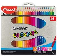 """Цветные карандаши """"Color Peps"""" в металлическом пенале (24 штуки)"""