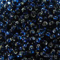 Бисер прозрачный с серебристым центром №67100 (темно-голубой)