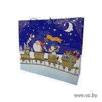 """Пакет бумажный подарочный """"Новогодняя упряжка"""" (34*28*9 см, арт. XD-C3113-7)"""