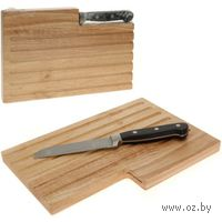 Доска разделочная деревянная (30*20 см) + нож металлический (26/13 см арт. A05000140)