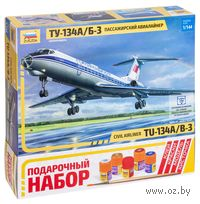 "Подарочный набор ""Авиалайнер Ту-134 А/Б-3"" (масштаб: 1/144)"