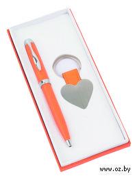 """Набор. Шариковая ручка, брелок """"Сердце"""" (оранжевый)"""