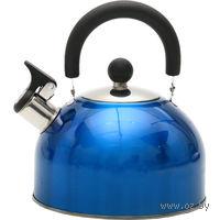 Чайник металлический со свистком и пластмассовой ручкой (2, 5 л, арт. GS-0401BY-Blue)