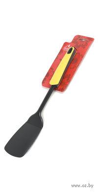 Лопатка кухонная металлическая с прорезями с пластмассовой ручкой (34 см, арт. KW-1198)