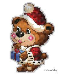 """Вышивка крестом """"Брелок. Медвежонок с подарком"""""""