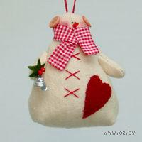 """Кукла ручной работы """"Снеговик"""" (с рождественским букетом в руке )"""