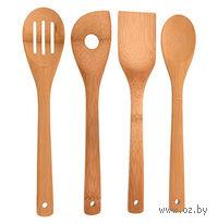 Набор кухонных инструментов деревянных (4 шт, 30 см)