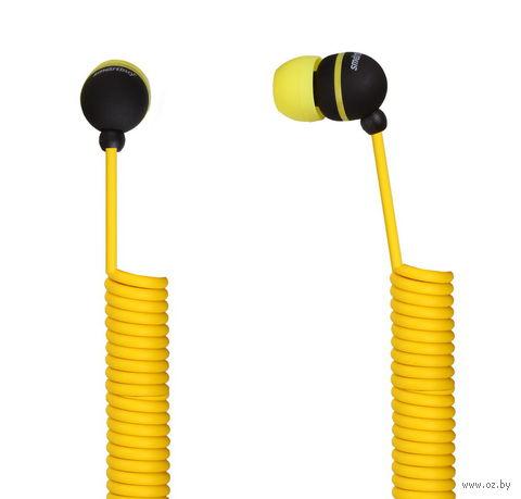 Наушники SmartBuy U.F.O., растягивающийся кабель SBE-2020 (желтый)