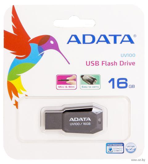 USB Flash Drive 16Gb A-Data UV100 (Black) — фото, картинка