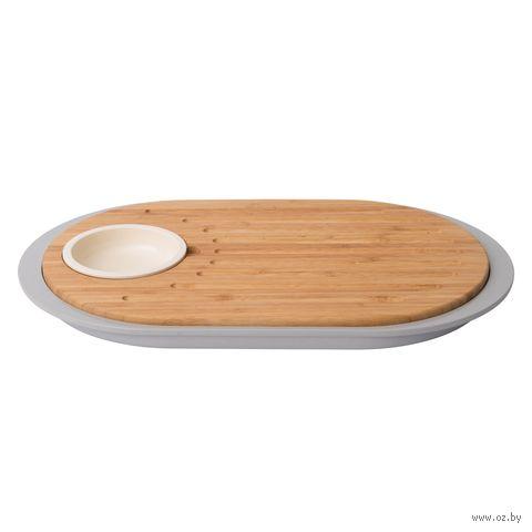 Доска разделочная бамбуковая с подносом (390х230х25 мм) — фото, картинка
