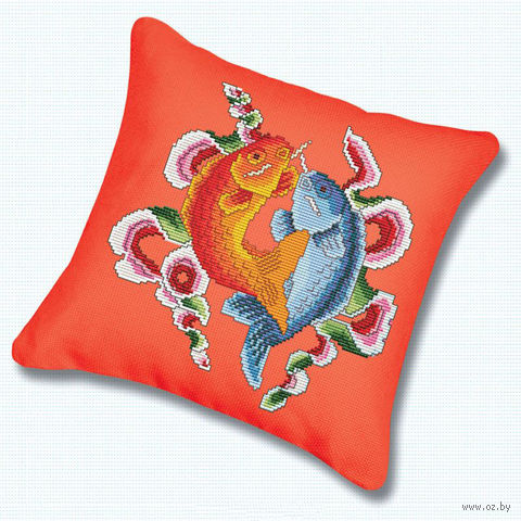 """Вышивка крестом """"Подушка. Цветные рыбы"""" (230х230 мм) — фото, картинка"""