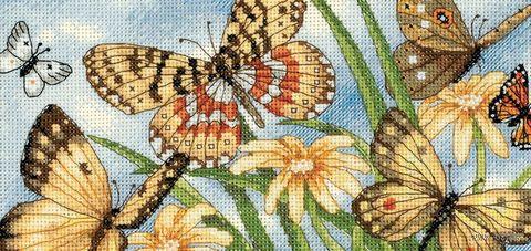 """Вышивка крестом """"Виньетка с бабочками"""" (200x100 мм) — фото, картинка"""
