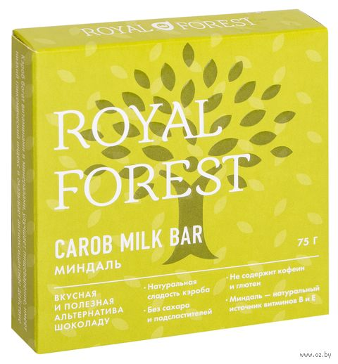 "Шоколад из кэроба ""Royal Forest. С миндалем"" (75 г) — фото, картинка"