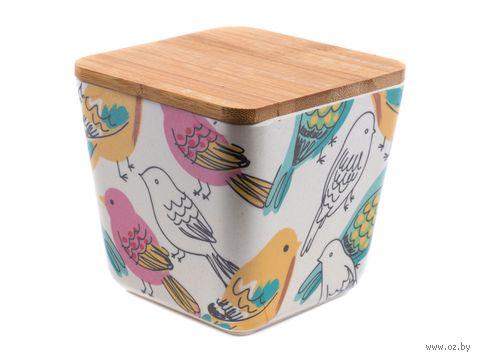 "Банка для сыпучих продуктов бамбуковая ""Птицы"" (110х110х120 мм) — фото, картинка"
