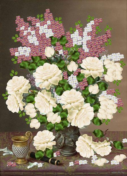 "Вышивка лентами ""Розы и сирень"" (360х260 мм) — фото, картинка"