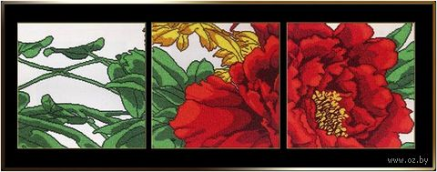 "Вышивка бисером ""Красный цветок"" (300х300 мм; 3 шт.) — фото, картинка"