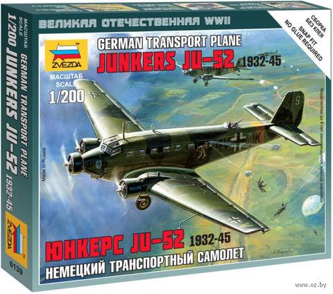 """Сборная модель """"Немецкий транспортный самолет Ju-52 """"Юнкерс"""" 1932-45"""" (масштаб: 1/200) — фото, картинка"""