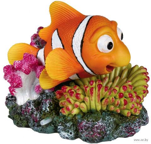 """Декорация для аквариума с воздухоотводом """"Рыба и коралл"""" (12 см) — фото, картинка"""